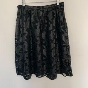 Michael Kors Faux leather floral midi skirt